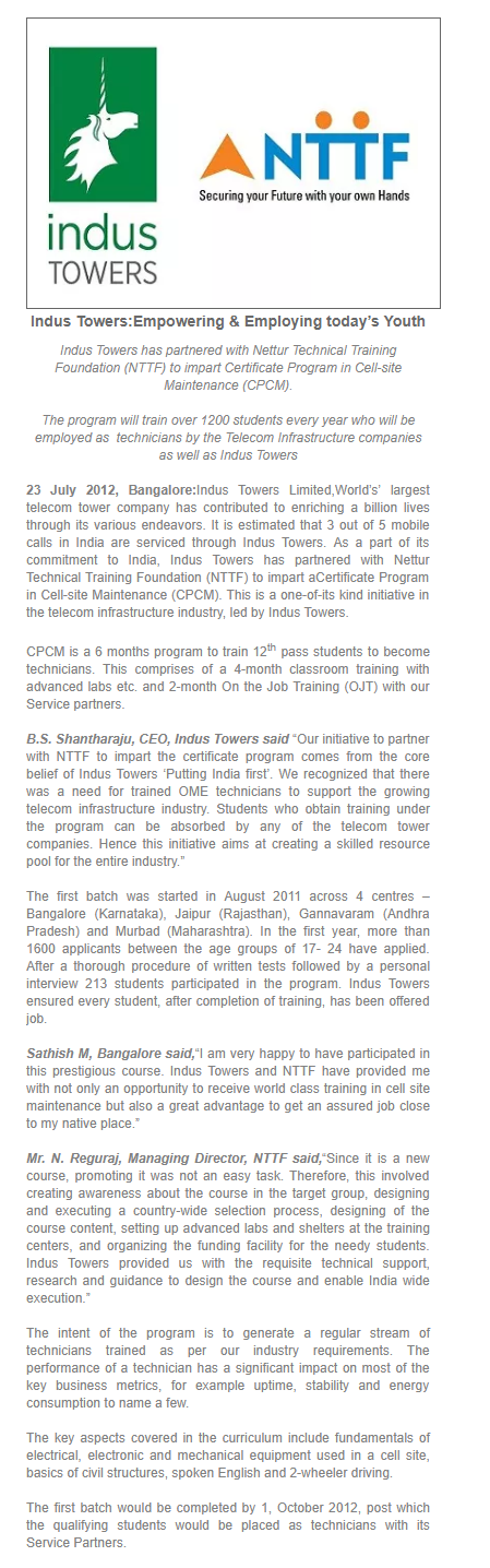 Indus Towers in News | Leading Tower Company in India